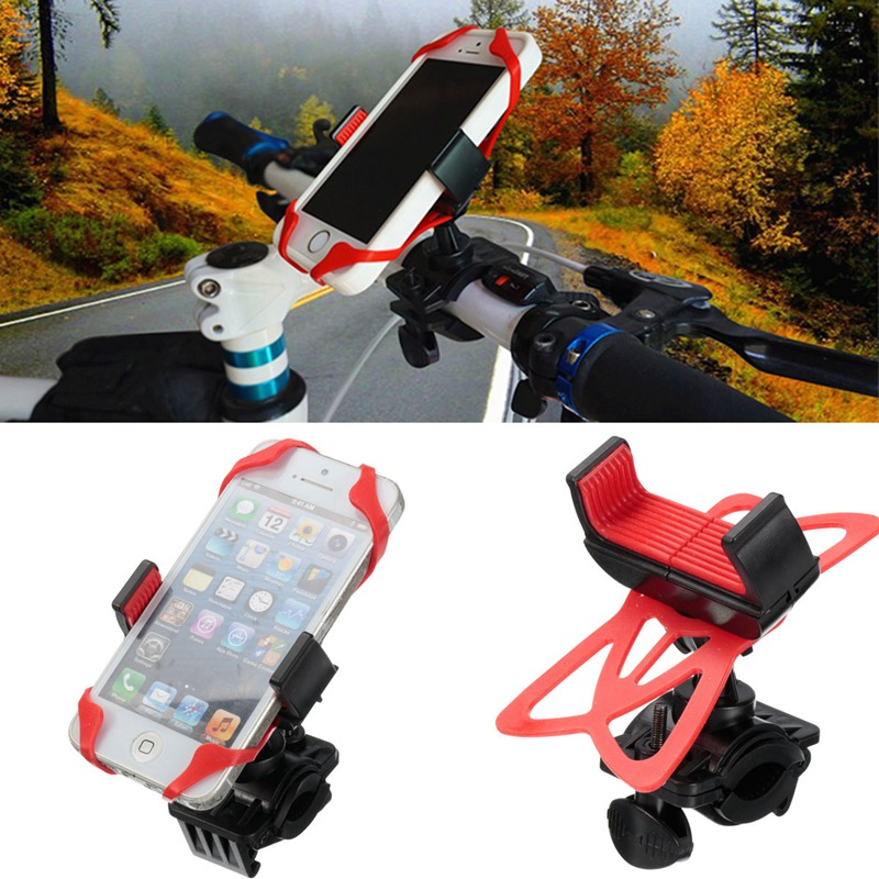 product Top Quality Universal Bike Bicycle Motorcycle Handlebar Mount Holder Phone Holder With Silicone Support Band For Mobile Phone