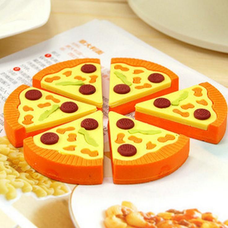 6 pcs/set Kawaii Rubber Pizza Box Erasers Set For Student Gift Cute Creative Stationery Wholesale Free shipping 653(China (Mainland))