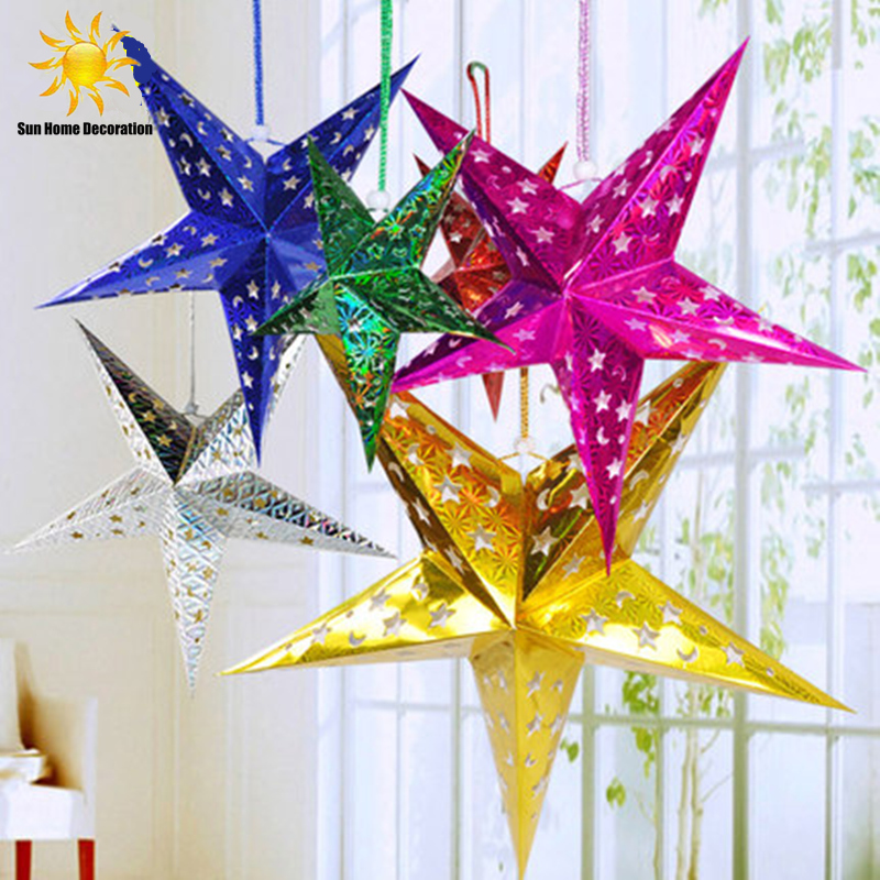 Christmas decorations three dimensional laser pentagram for Star home decorations