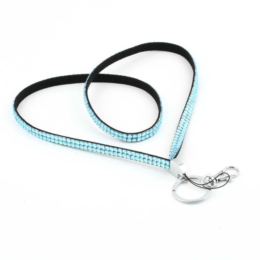 1pcs Sky Blue Rhinestone Lanyard Crystal Bling Custom Lanyard & ID Badge Cellphone w/ Key Holder Ring