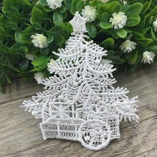 Free Shipping 6.5CM Polyester Lace Patches Christmas Tree Sewing Applique Trims Kids Dress Clothes Accessories White(China (Mainland))