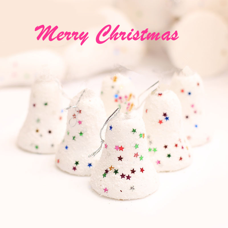 6pcs/Lot 5cm Christmas Tree Decorations Snow Bell Christmas Ornaments Decorations for Tree Hanging Xmas Noel Ornaments for Home(China (Mainland))