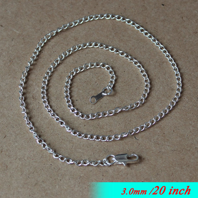 "20"" Silver-plated For Jewelry Links Pendants Components With Square Clasp Connectors 3mm Encryption Curb Necklace Chaines Bulk(China (Mainland))"