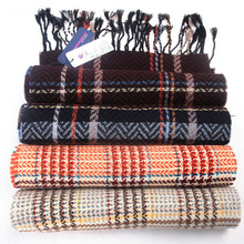 Winter Fashion Long Wool Scarf Men Luxury Design Women Pashmina Shawl Tartan Plaid Scarves With Tassel