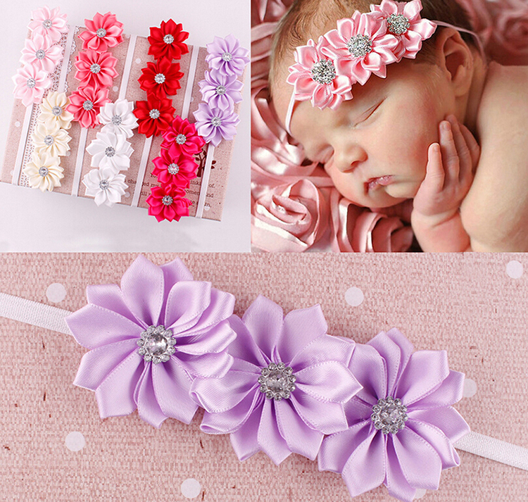 New Girls Soft Ribbon Flower Hair Band Baby Headband 7 Colors Hair Accessories(China (Mainland))