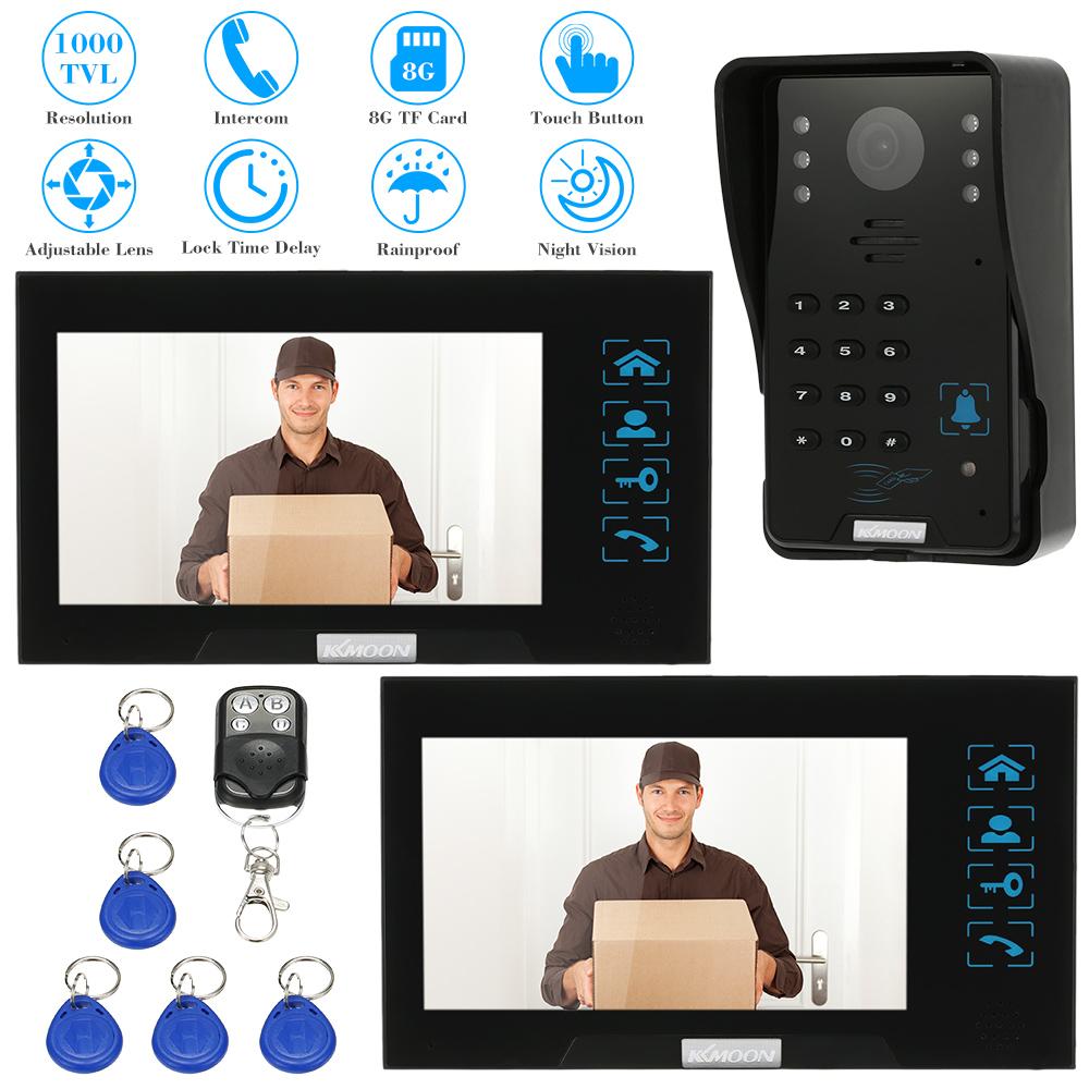 "KKmoon 7"" Color Screen Video Intercom Video Door Phone Waterproof Visible Home Door Intercom With 1000TVL Camera Night Vision(China (Mainland))"