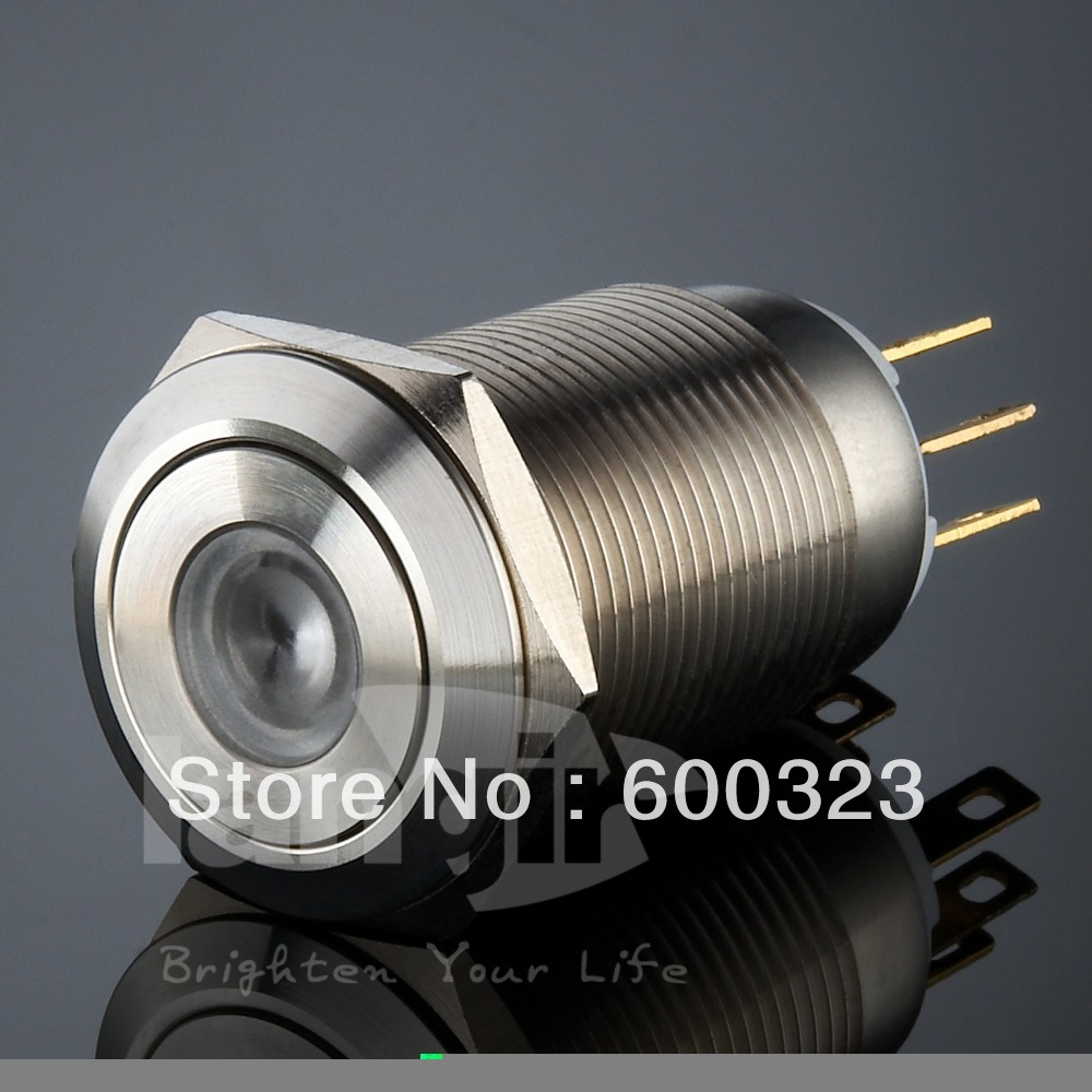Dot LED Latching Anti vandal Push Button Switch L19 (19mm) made of Stainless steel<br><br>Aliexpress