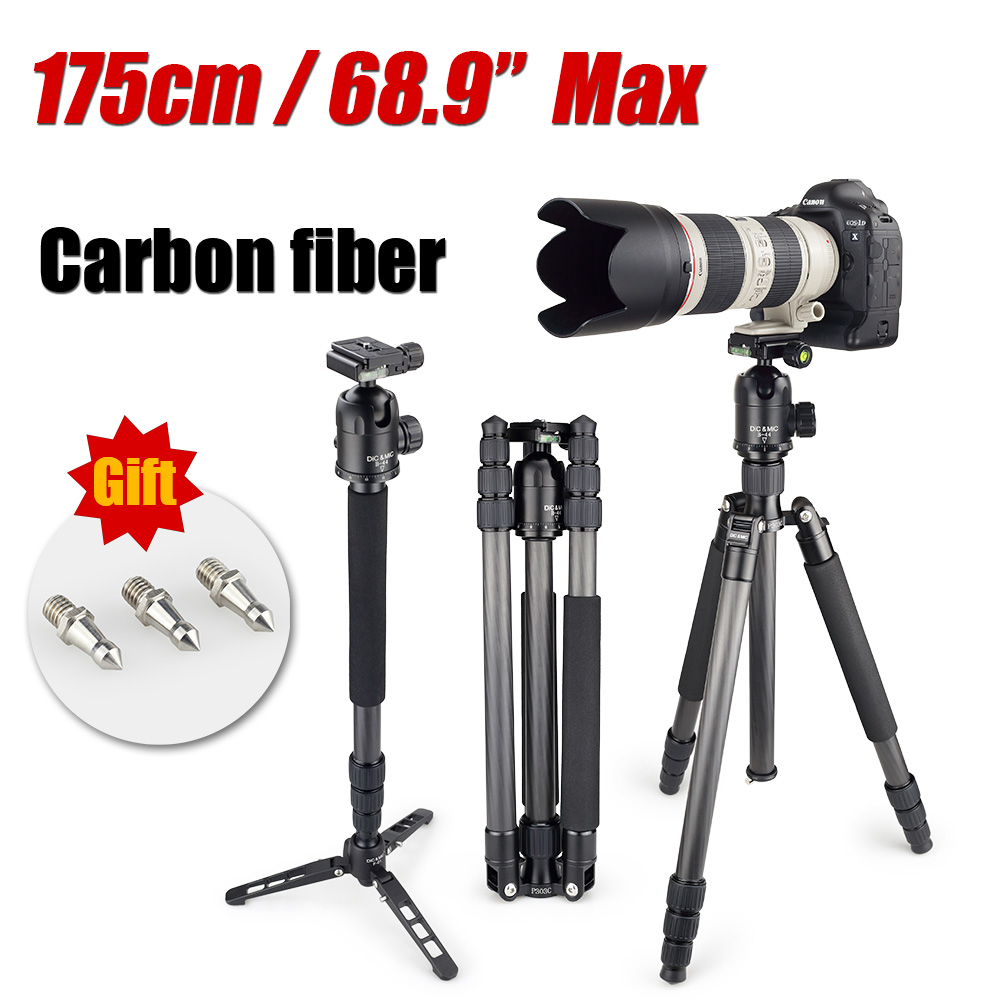 DiC&MiC P303C Professional Carbon Fiber Tripod Monopod For DSLR Camera / camera stand for tall Photographer Max Height 175cm(China (Mainland))