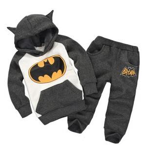 Children clothing boys girls cartoon Batman hooded sweater+pants kids casual warm plus velvet suit 2-6T(China (Mainland))