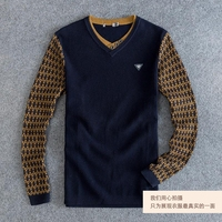 2016 autumn and winter 50% wool sweater fake 2 piece V neck swearter men's wool v neck pullover sweater for men free shipping
