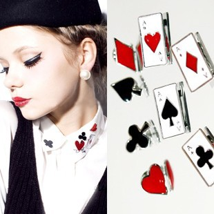 Fashion vintage accessories small poker fancy small brooch female pin(China (Mainland))