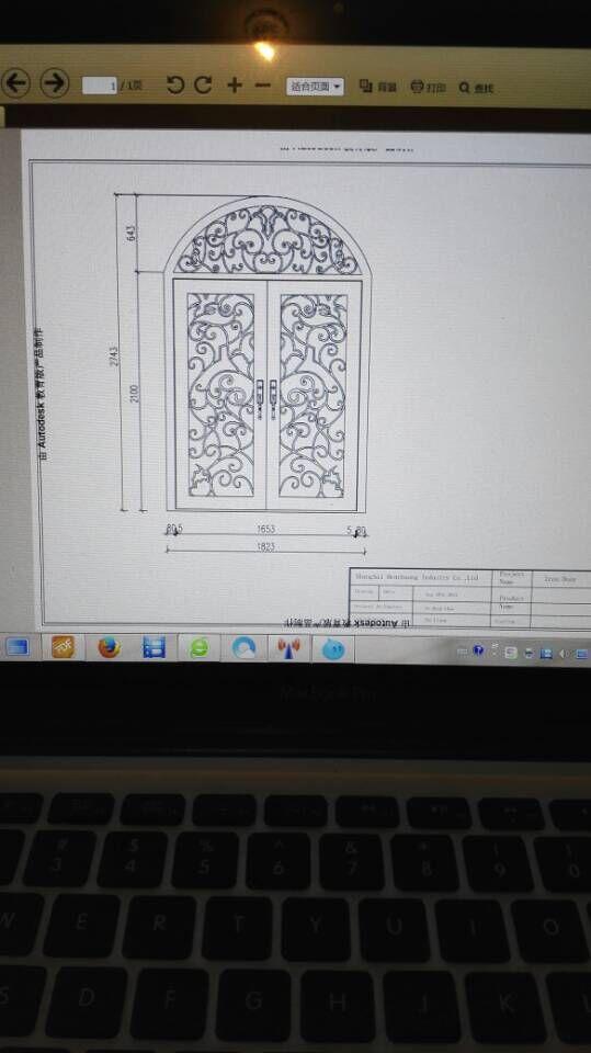 "Custom design 74"" x 98"" Wrought Iron Entry Double Doors Oct1(China (Mainland))"