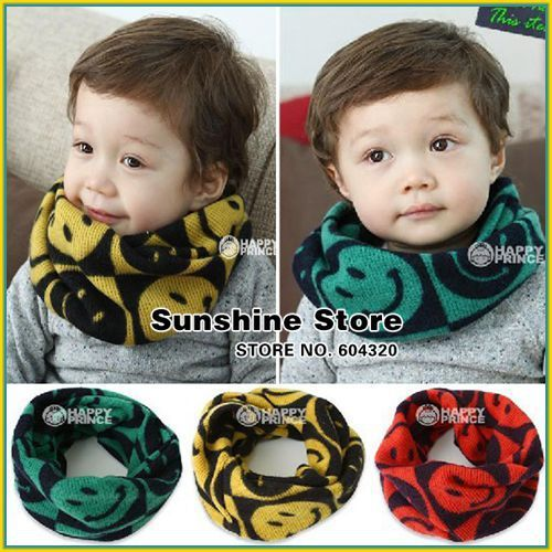 Smile face baby boy scarf knitted,Children Kids knitted Neck Warmer,girl bufandas,cowl knit Gaiter #2D2517  5 pcs/lot (3 colors)