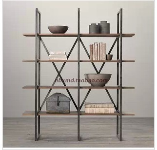 Wrought Iron Stands American country to do the old wood frame finishing rack shelf bookcase Creative Storage Rack(China (Mainland))
