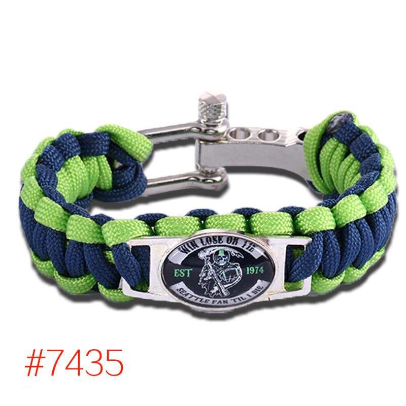 6pcs/lot! Win Lose Or Tie Seattle Seahawk Fan Til I Die Paracord Bracelet,Free Shipping!(China (Mainland))