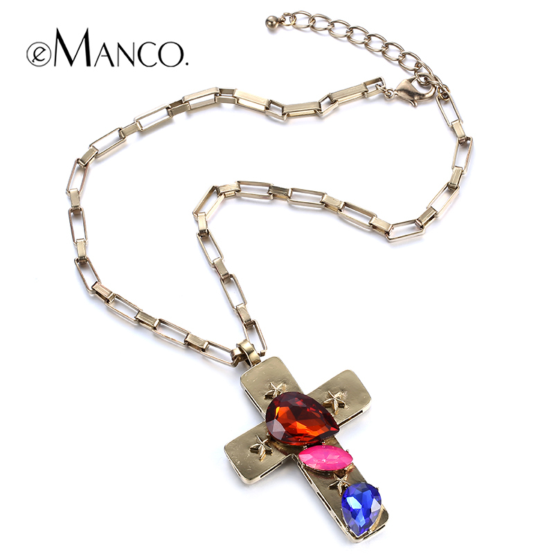//Crystal cross pendant gold plated chain necklace// zinc alloy jewelry necklaces & pendants 2015 summer style bijoux eManco(China (Mainland))