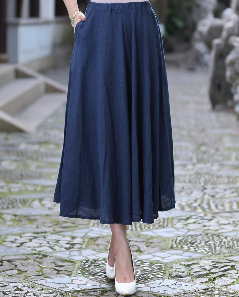 summer casual cotton linen skirt plus size