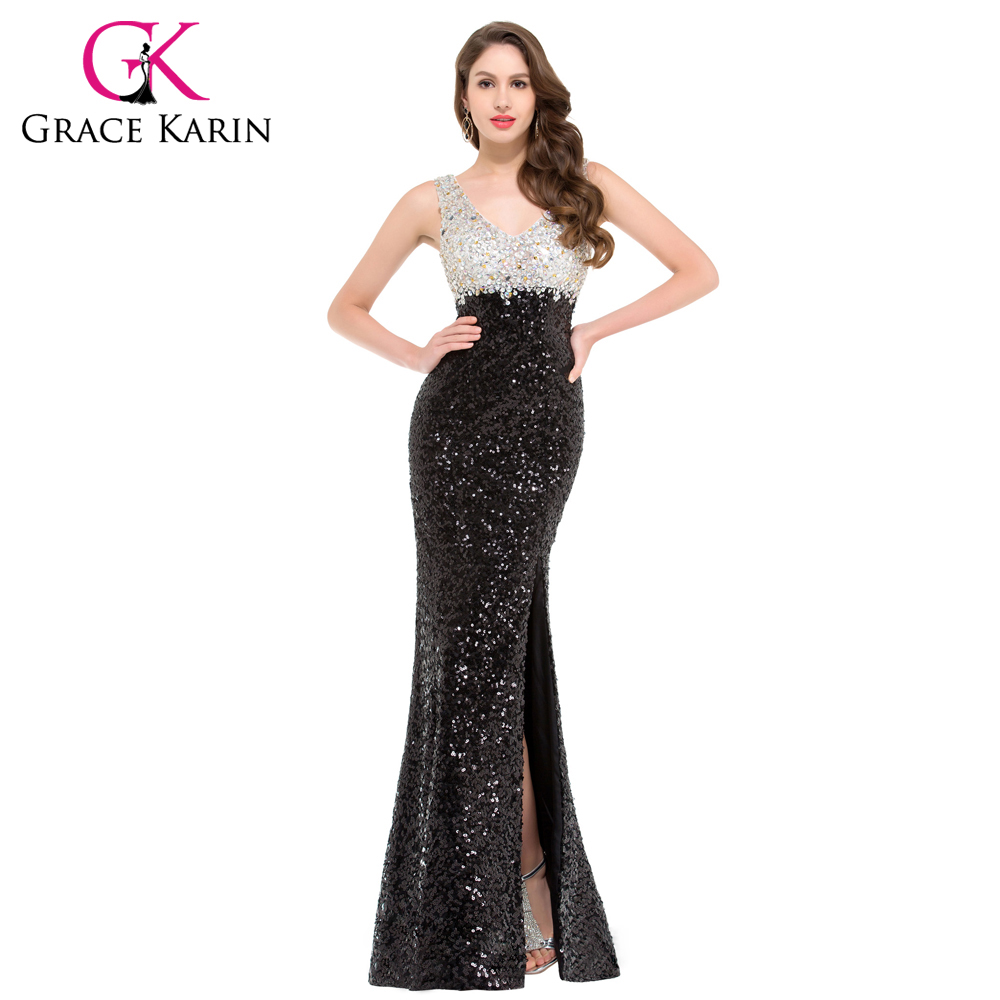 Mermaid Evening Dress Grace Karin Sparkle Black Evening Gowns Double V Neck Long Sequin Special Occasion Dresses Split 2016(China (Mainland))