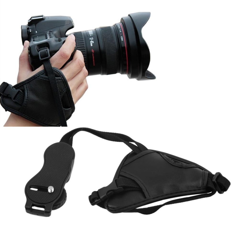 Black Leather Digital/SLR Camera Wrist Strap Triangle Hand Grip for DSLRHot New Arrival(China (Mainland))