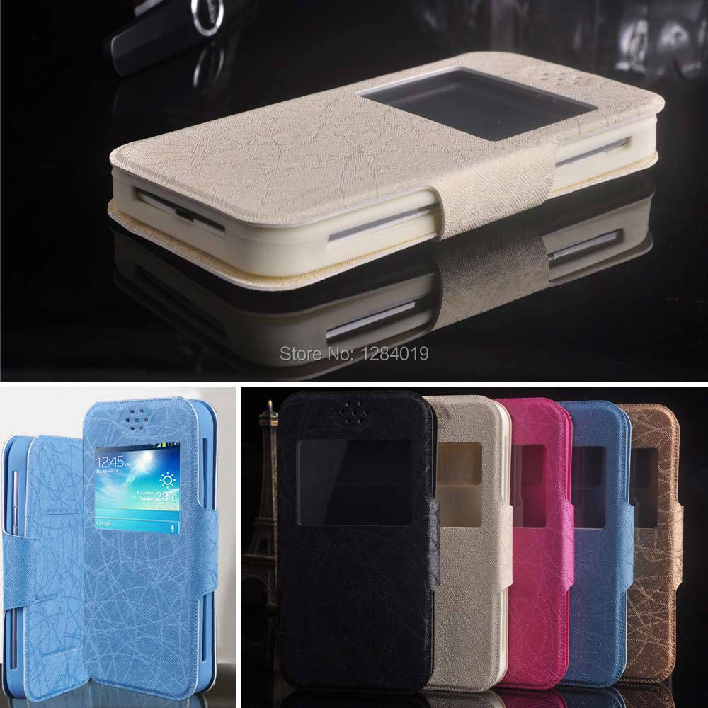 High Quality Luxury for Gigabyte GSmart Elite case PU Leather Flip Stand Universal Case view window Cover in stock F2(China (Mainland))