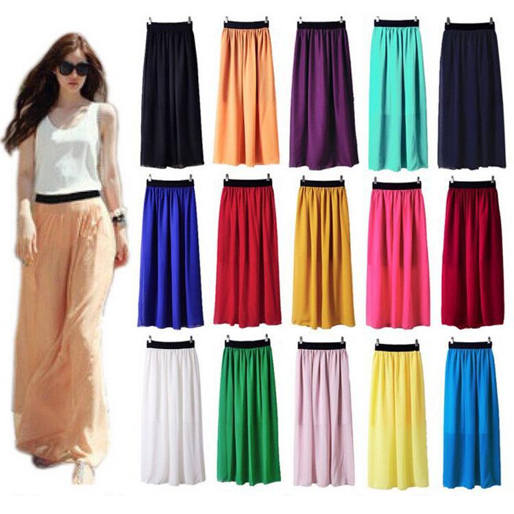 New fashion women summer clothing bohemian Elastic Waist Chiffon Long Maxi Girl's Pleated Ruched Skirts 15 Colors Wholsale LS107(China (Mainland))