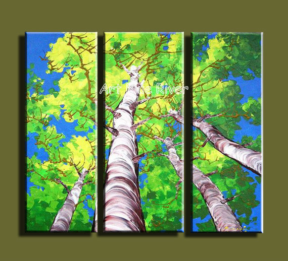 3 piece abstract modern muti canvas wall art handmade green tree landscape picture oil painting on canvas for bedroom decoration(China (Mainland))