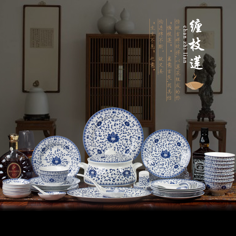 High-end Jingdezhen blue and white porcelain bone china tableware suit 56 pieces ceramic bowls cutlery sets Free shipping(China (Mainland))