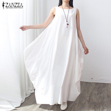 Buy Summer Dress 2017 Women Sleeveless O Neck Sexy Dress Cotton Linen Long Maxi Dresses Casual Loose Retro Solid Vestidos Plus Size for $12.71 in AliExpress store