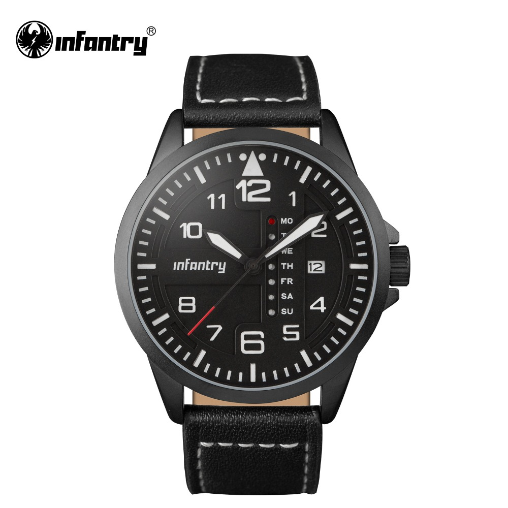 INFANTRY Mens Quartz Wristwatches Black Clock Relogio Masculino Luminous Military Army Sports Watch Leather 30M Water Resistant(Hong Kong)