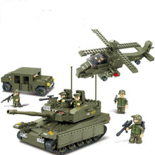 Sluban Military Series Army Heavy Tank Helicopters Hummer Air Defense Building Blocks Bricks Sets toys Compatible With Legoe