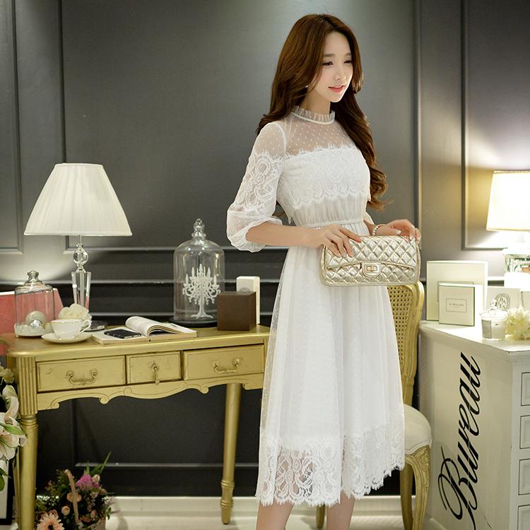 Dabuwawa 2016 new autumn ladies dress long big sizes stand collar wide hem slim fashion cute half sleeved dresses women