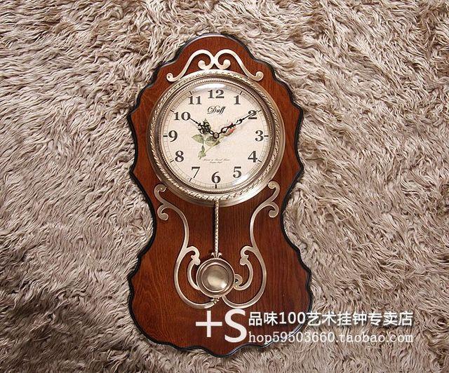 rushed duff rustic solid wood wall clock pendulum silent movement copper apotropaic transhipped clocks