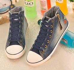 Бесплатная доставка новых женских моделей мыть джинсовой высокого верха обуви цветы ...