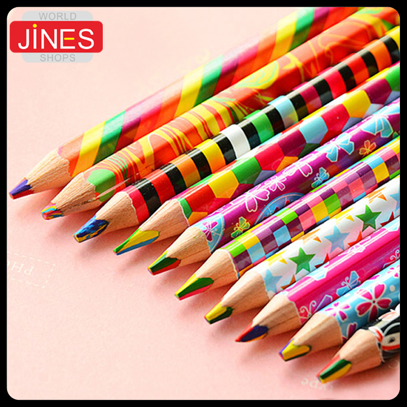 20pcs/lot Rainbow color pencil 4 in 1 colored pencils for drawing Stationery drawing Office material school supplies<br><br>Aliexpress