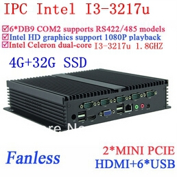 New arrival INCTEL embeded PC I3 Gigabit Ethernet NM70 6 USB 6 COM 4G RAM 32G SSD WIN7 WIN8 LINUX drive NAS Free 7 24 hours(China (Mainland))