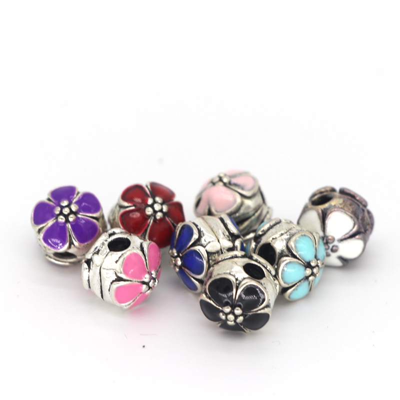 Daisies DIY lock Clip Alloy Beads European Stopper Beads Fit Pandora Charm Bracelet Bangles Necklace Pink Enamel Flower(China (Mainland))