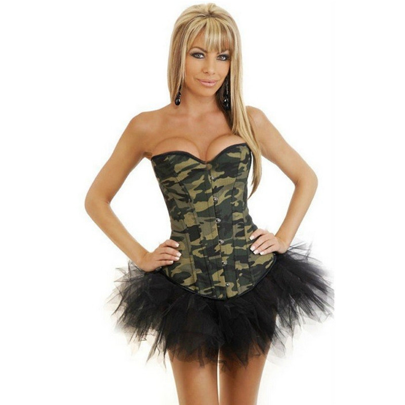 New Fashion Women Waist Training Corset Army Green Camouflage Print Overbust Gothic Corset Top Sexy Lingerie Bustier Body Shaper(China (Mainland))