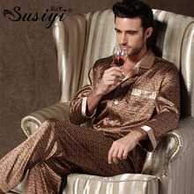 Male silk pajama set men summer sleepwear male long-sleeve lounge set silk lounge plus size(China (Mainland))