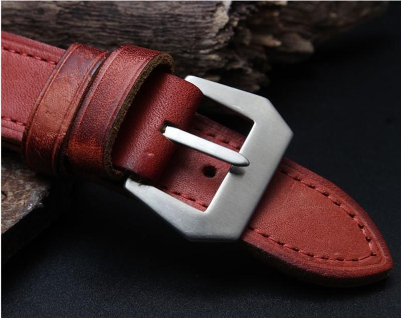 Группа часы кожи ретро старый кожаный браслет аксессуары адаптер pam111 мужской 24 мм