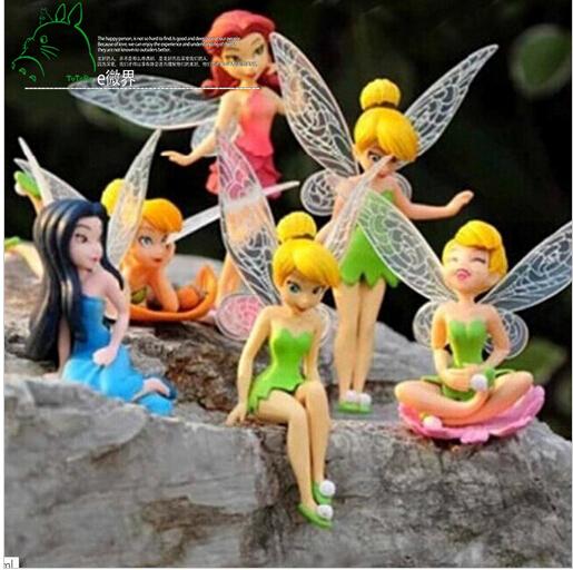 6pcs/Set Christmas Kids Gift Tinkerbell Dolls Flying Flower Fairy Children Animation Cartoon Baby Toy Juguetes(China (Mainland))