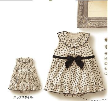 summer style dress cotton baby girls dress print dresses bow belt
