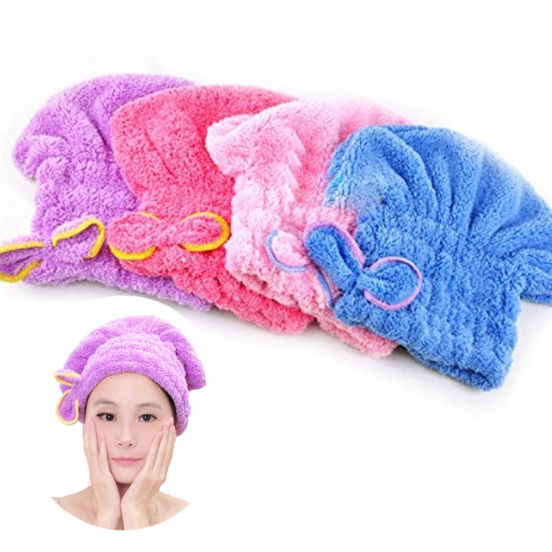 Womens Girls Lady's Magic Quick Dry Bath Hair Drying Towel Head Wrap Hat Makeup cosmetics Cap Bathing Tool TQ-BR012(China (Mainland))