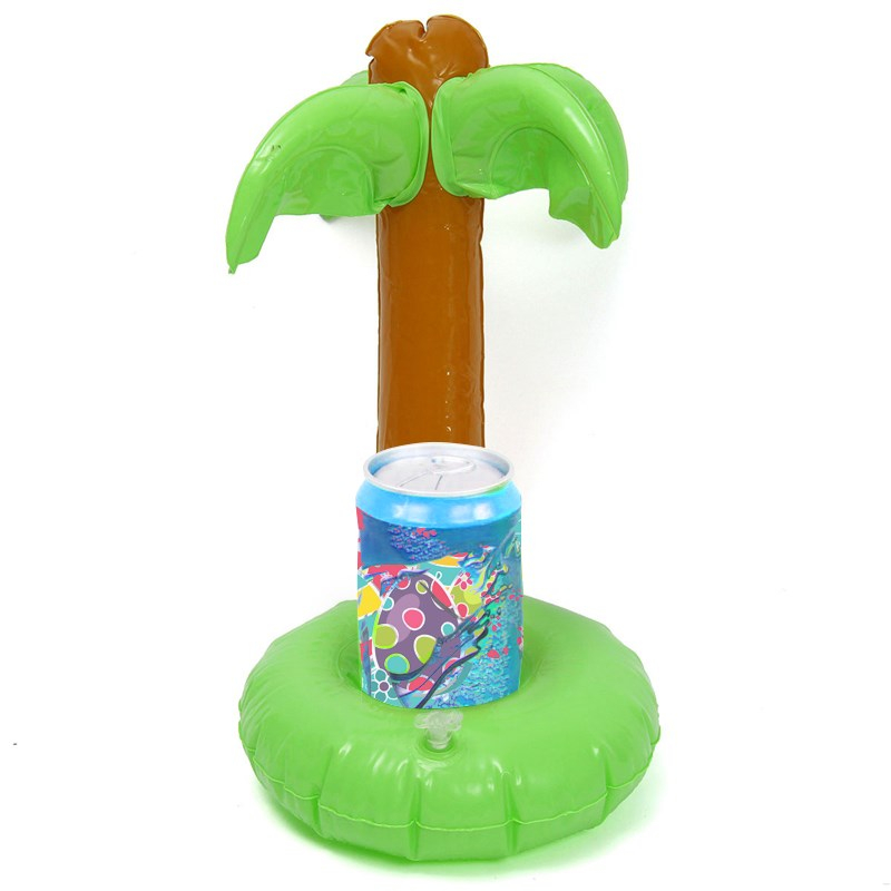 5pcs Inflatable Green Toys Home Decor Floating Inflatable Drink Can Holder for Tea Cup Summer Pool Swimming Toy Green Trees(China (Mainland))