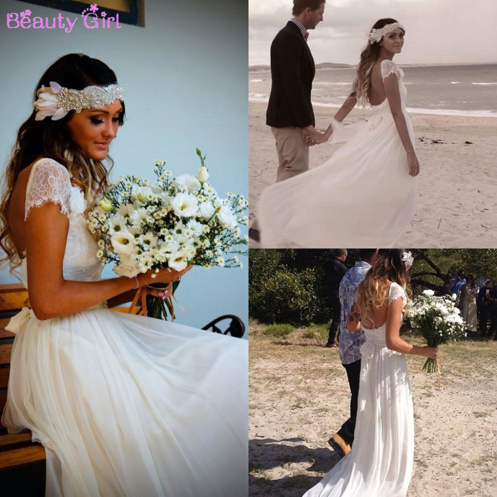 2015 fashion bohemian style beach wedding dresses short for Short beach style wedding dresses