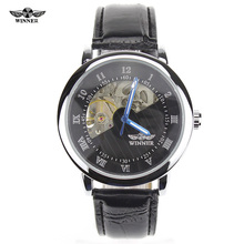 Winner Luxury Carving Skeleton Steampunk Hand Wind Mechanical Silver Genuine Leather Clasp Unisex Lover s Montre