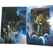 18cm NECA 30th Anniversary Aliens Rescuing Newt Deluxe Set Vogue Ripley and Newt PVC Action Figure Toys Brinquedos(China (Mainland))