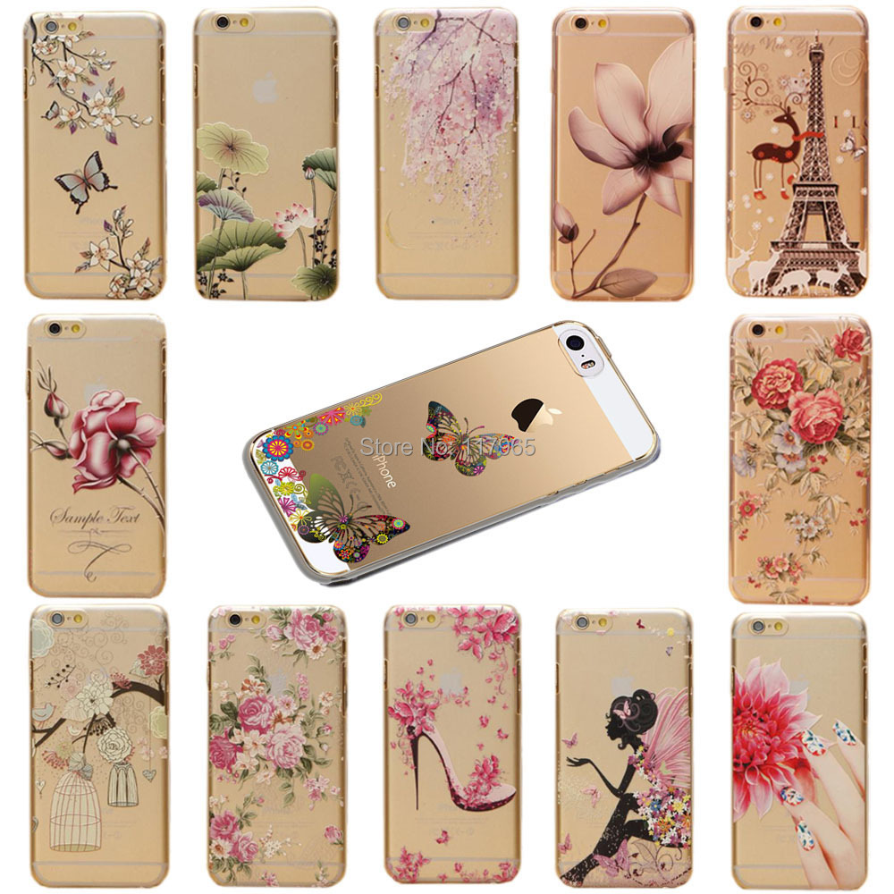 "2015Hot! Clear Phone Shell flower butterfly pattern Cover Skin For iPhone6 Hard Case cover 4.7"" EC551(China (Mainland))"