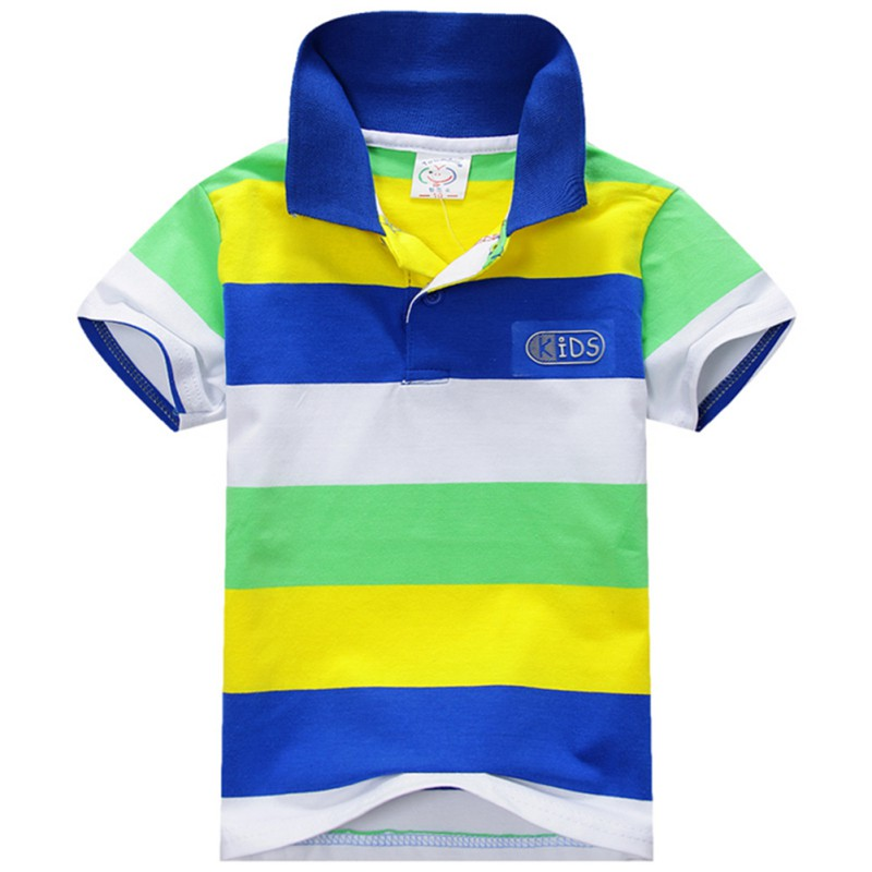 2016 Summer Child Kids Boys Short Sleeve T shirts Stripe Lapel Cotton Casual Blouse Tops Baby