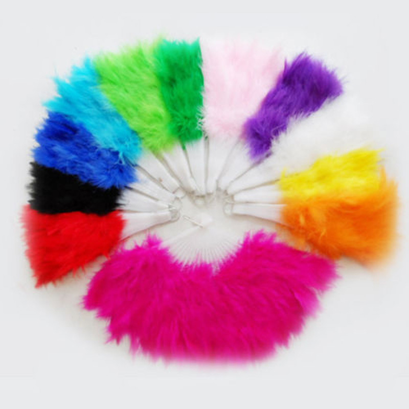 1 x Beautiful feather fan for dance props, goose feather folding fan,Wedding Hand Fancy Dress Costume 5 Colors(China (Mainland))