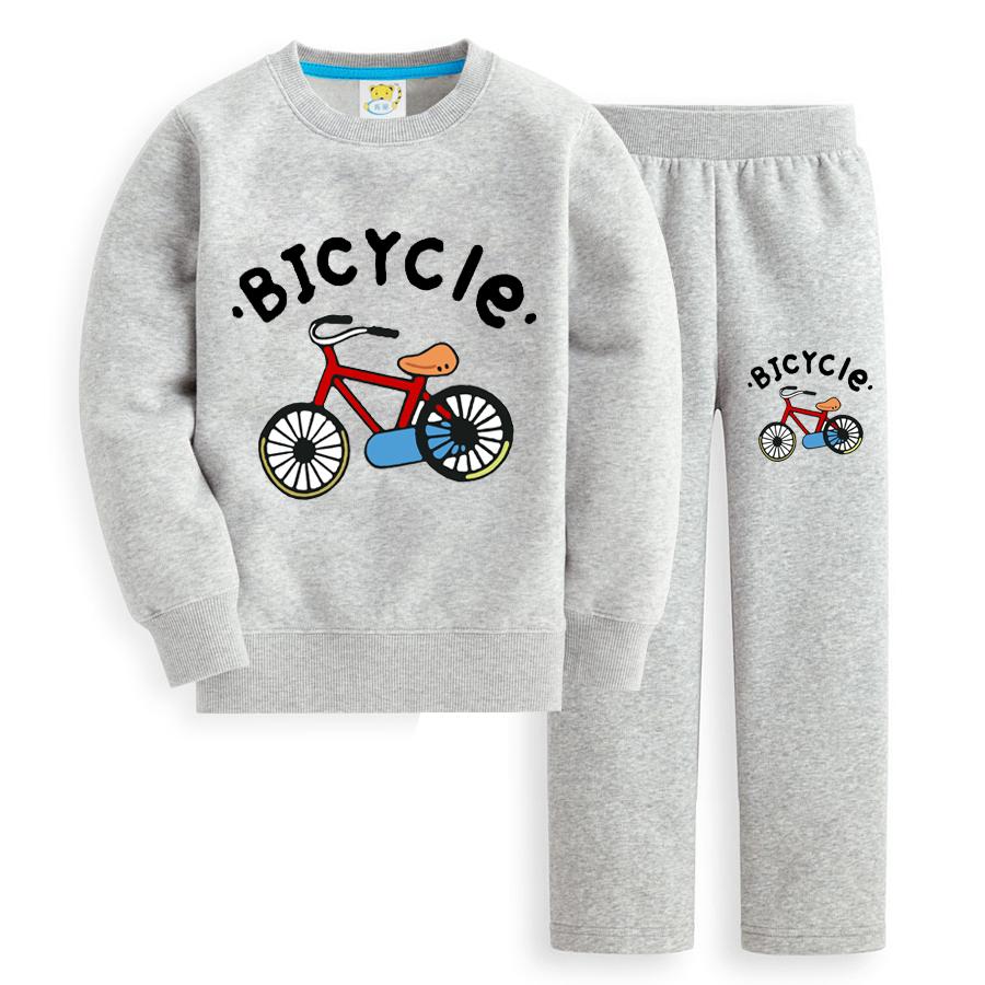 Child cartoon set autumn 2014 4 - 12 male female child bicycle pattern thickening plus velvet children's clothing